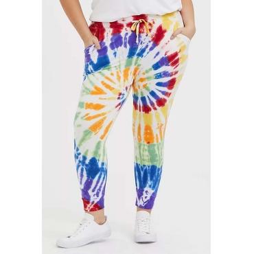Lovely Casual Tie-dye Multicolor Plus Size Pants