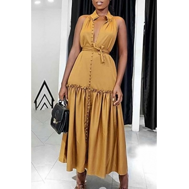 Lovely Casual Patchwork Fold Design Deep Yellow Ankle Length Dress