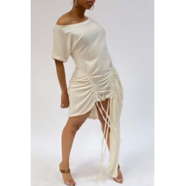 Lovely Trendy Fold Design Asymmetrical White Mini Dress