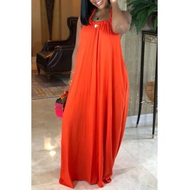Lovely Casual Loose Jacinth Maxi Dress