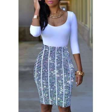 Lovely Casual Patchwork White Knee Length Dress