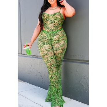 Lovely Sexy Print Green Plus Size One-piece Jumpsuit