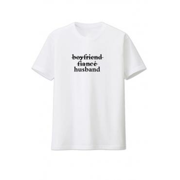 Lovely Leisure O Neck Letter White T-shirt