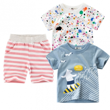Lovely Casual Striped Print Pink Boy Two-piece Shorts Set