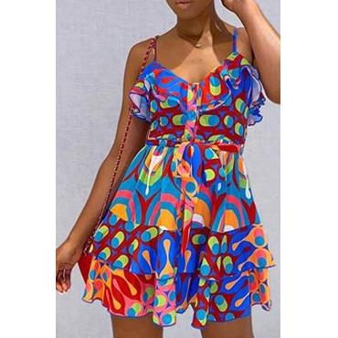 Lovely Stylish Print Multicolor Mini Dress