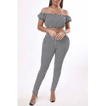 Lovely Trendy Dew Shoulder Grid Black Two-piece Pants Set