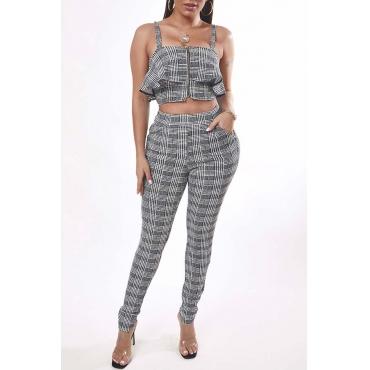 Lovely Trendy Grid Black Two-piece Pants Set