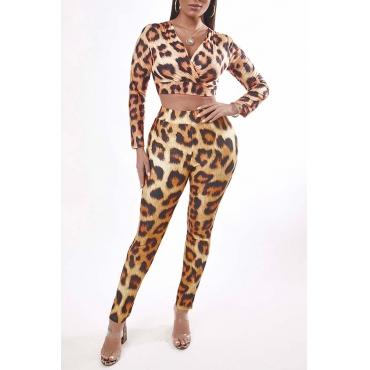 Lovely Sexy V Neck Leopard Print Two-piece Pants Set