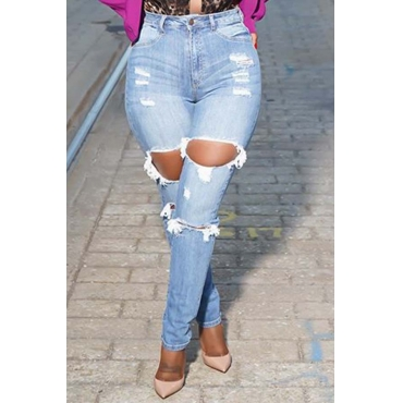 Lovely Trendy Hollow-out Baby Blue Jeans
