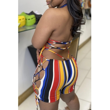 Lovely Sexy Striped Backless Plus Size One-piece Romper