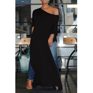 Lovely Casual Side High Slit Black Plus Size Blouse