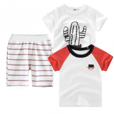 Lovely Casual Striped Print Boy Two-piece Shorts Set