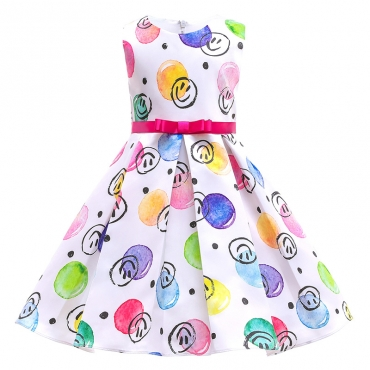 Lovely Sweet Print White Girl Knee Length Dress