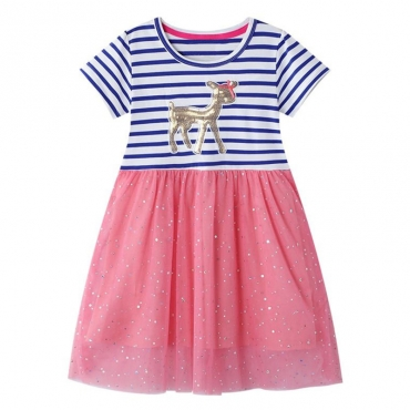 Lovely Stylish Patchwork Light Pink Girl Knee Length Dress