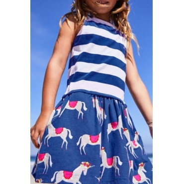 Lovely Sweet Striped Blue Girl Knee Length Dress
