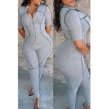 Lovely Trendy Zipper Design Grey One-piece Jumpsuit
