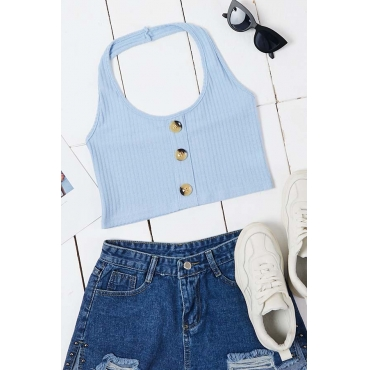 Lovely Trendy Buttons Design Blue Camisole