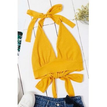 Lovely Sexy Lace-up Yellow Camisole