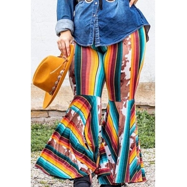 Lovely Casual Striped Multicolor Plus Size Pants