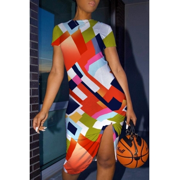 Lovely Casual O Neck Print Multicolor Knee Length Dress