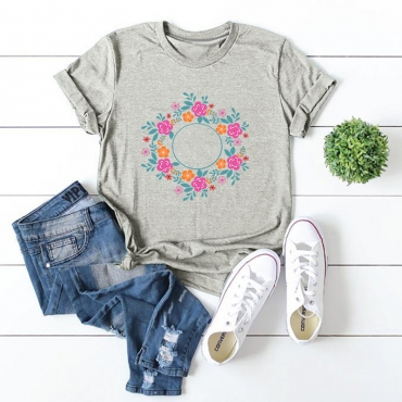 Lovely Leisure O Neck Print Grey T-shirt