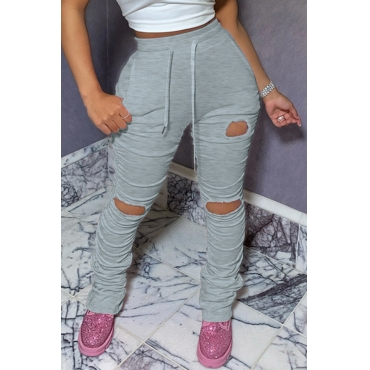 Lovely Leisure Hollow-out Grey Pants