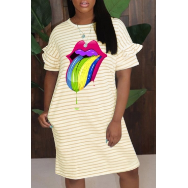 Lovely Casual Striped Print Yellow Knee Length Dress