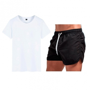 Lovely Sportswear Fold Design White Grey Two-piece Shorts Set
