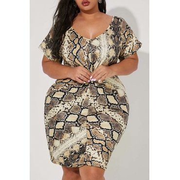 Lovely Trendy Snakeskin Print Plus Size Dress