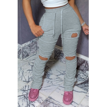 Lovely Sportswear Hollow-out Grey Pants