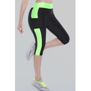 Lovely Sportswear Patchwork Green Plus Size Leggings
