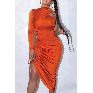 Lovely Trendy One Shoulder Fold Design Orange Knee Length Dress
