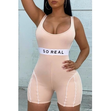 Lovely Stylish Letter Apricot One-piece Romper