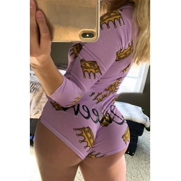 Lovely Casual Cartoon Print Light Purple One-piece Romper