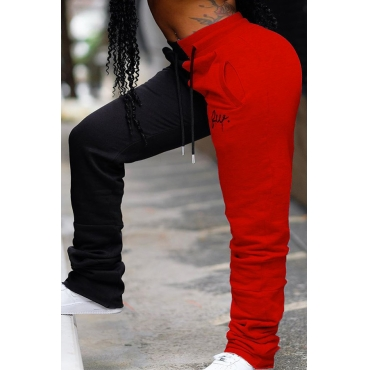 Lovely Casual Patchwork Red Plus Size Pants