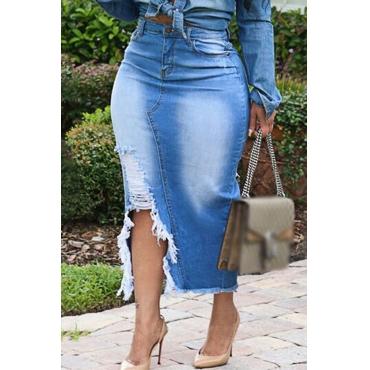 Lovely Casual Torn Edges Blue Plus Size Skirt
