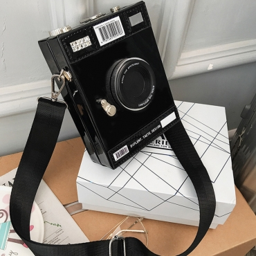 Lovely Casual Camera Black Crossbody Bag