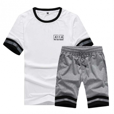 Lovely Sportswear Patchwork White Two-piece Shorts Set
