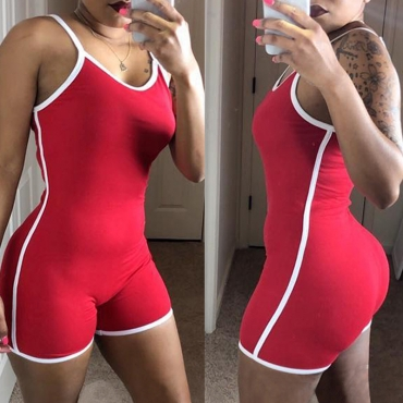 Lovely Leisure Patchwork Red One-piece Romper