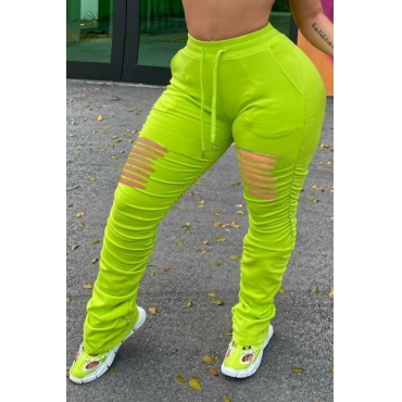 Lovely Casual Hollow-out Green Plus Size Pants