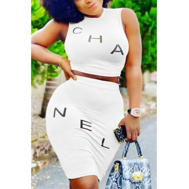 Lovely Casual Letter White Two-piece Skirt Set