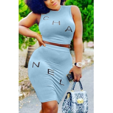 Lovely Casual Letter Blue Two-piece Skirt Set