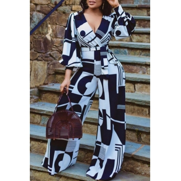 Lovely Trendy Print BlackOne-piece Jumpsuit