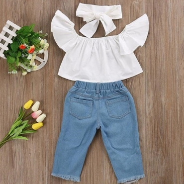 Lovely Sweet Flounce Design White Girl Two-piece Pants Set