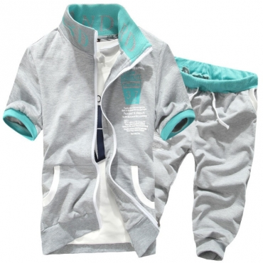 Lovely Sportswear Zipper Design Light Grey Two-piece Shorts Set