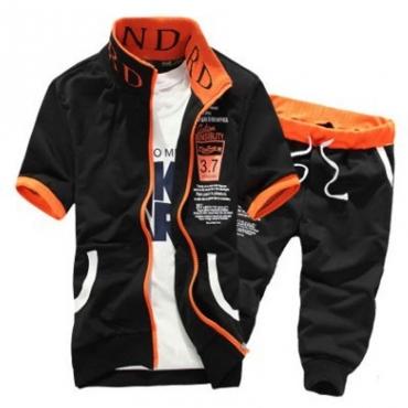 Lovely Sportswear Zipper Design Black Two-piece Shorts Set