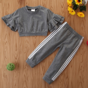 Lovely Stylish Patchwork Grey Girl Two-piece Pants Set