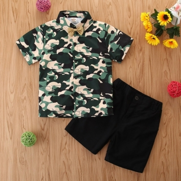 Lovely Stylish Camo Print Army Green Boy Two-piece Shorts Set