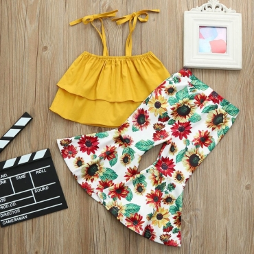 Lovely Stylish Sunflower Print Yellow Girl Two-piece Pants Set