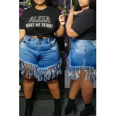 Lovely Stylish Tassel Design Deep Blue Plus Size Shorts